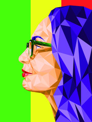 Low poly abstract portrait in profile of a woman wearing glasses. On a background of three colors: red, green, yellow. Rastafarian colors. Polygonal. Vector illustration
