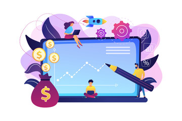 Investment managers with laptops offer better returns and risk management. Investment fund, investment opportunities, hedge fund leverage concept. Bright vibrant violet vector isolated illustration