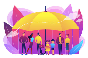 Individuals under umbrella protection against economic hazards. Social insurance, economic hazards risk, social security number concept. Bright vibrant violet vector isolated illustration