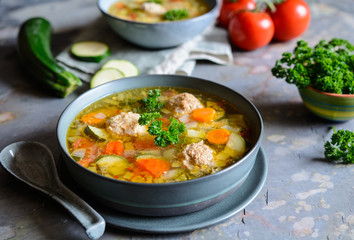 Albondigas soup - Mexican soup with onion, garlic, zucchini, stalk celery and meat balls