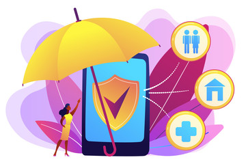 Customer getting insurance coverage and protection using smartphone. On-demand insurance, online policy, personalized isurance service concept. Bright vibrant violet vector isolated illustration