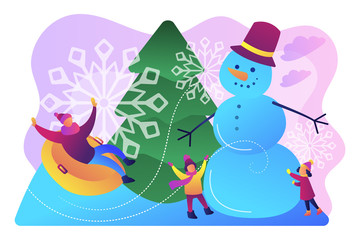 Happy people having fun outdoor in winter sledding and making snowman. Winter outdoor fun, building a snowman, snowball fight and sledding concept.Bright vibrant violet vector isolated illustration