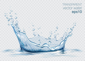 Transparent vector water splash and wave on light background Fototapete