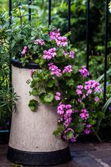Decorative Chimney Pot with Geraniums