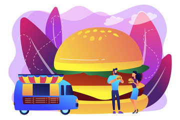 Huge hamburger and businessman and woman eating in the street near truck. Street food, city food truck, street food festival concept. Bright vibrant violet vector isolated illustration