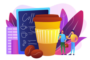 Businessmen drinking take away coffee at huge paper coffee cup and beans. Take away coffee, on the go drink, take away business concept. Bright vibrant violet vector isolated illustration