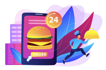 Order huge hamburger on tablet available 24 hours and a cook delivering dish. Food delivery service, online food ordering, 24 7 food service concept. Bright vibrant violet vector isolated illustration