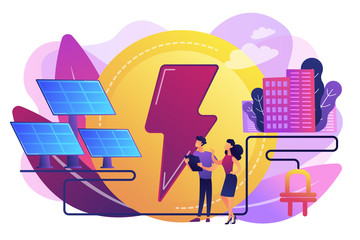 Businessmen use solar energy panels to produce electricity for the city. Solar energy, solar power plant, alternative source of electricity concept. Bright vibrant violet vector isolated illustration