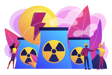 Engineers working at nuclear power plant reactors releasing energy. Nuclear energy, nuclear power plant, sustainable energy source concept. Bright vibrant violet vector isolated illustration