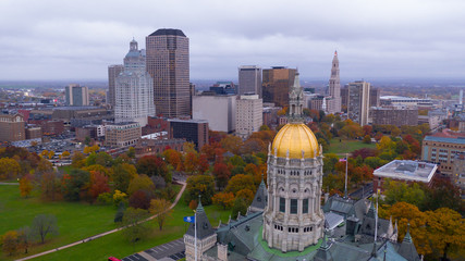 State Capitol Dome Hartford Connecticut Fall Color Autumn Season