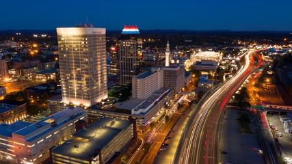 Springfield Massachusetts Early Evening Rush Hour Traffic Aerial View