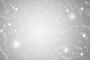 Abstract festive background. Silver radiant with stars.