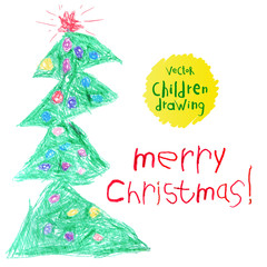 Vector illustration. A naive children's drawing. Christmas tree