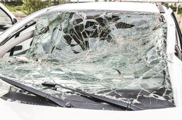 Crashed and damaged car