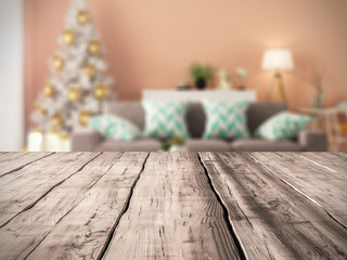 Table background and Interior of modern living room with christmas tree 3D rendering