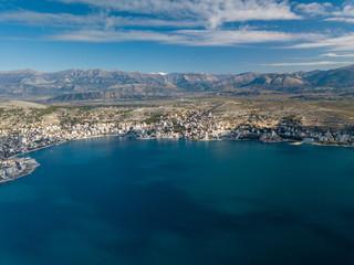 City of Saranda aerial view near the ionian sea part of Mediterranean waters. Albania Europe
