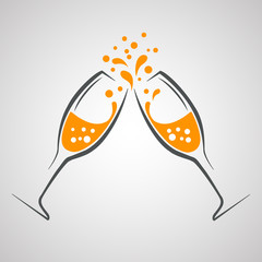 Two wineglass icon, logo, sign, emblem – vector