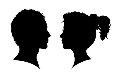 Man and woman silhouette. Face to face – for stock vector