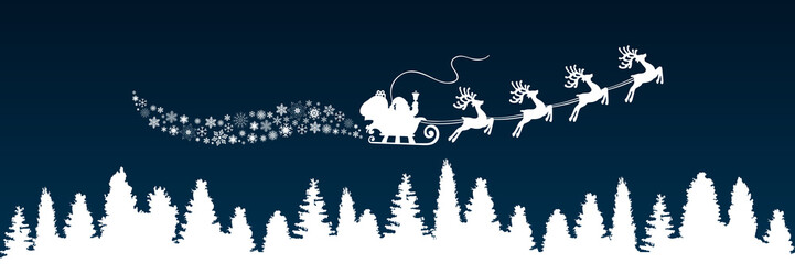 White Santa Claus flyin on Christmas sleigh in the night – stock vector