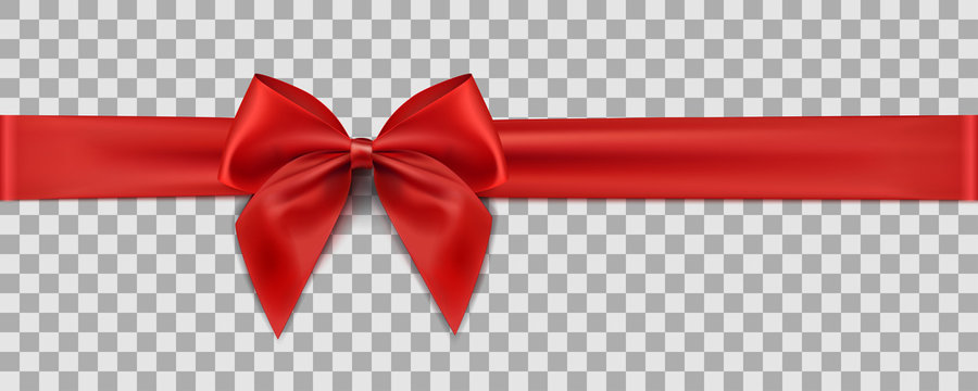 Red ribbon on transparent background. Gift decoration - stock vector