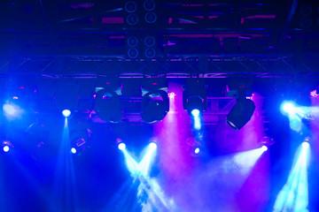 Stage, concert light. Modern spotlights equipment.