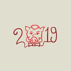 Happy new year. Boars year. 2019
