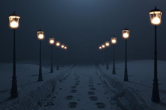 Verschneite Strasse mit frischen Schneespuren und umgeben von alten leuchtenden Strassenlaterne in der Nacht. 3D Rendering