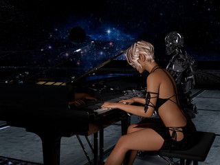 Close up of a robot and a woman playing piano with space background