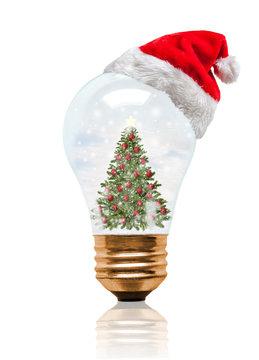 Snow Globe Light Bulb Christmas Tree With Santa Hat