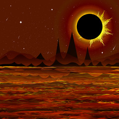 Illustration - solar eclipse. Fantastic. Fiery World. Apocalypse. Dead, volcanic world, Mercury. Vector.
