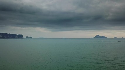 Wall Mural - Aerial landscape with sea and stormy sky, Thailand, 4k