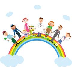 Aluminium Prints Rainbow 虹に乗っている街の人々