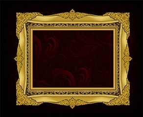 Wall Mural - Decorative vintage frame and border, Gold photo frame with corner Thailand line floral for picture, Vector design decoration pattern style. border design is pattern Thai art style
