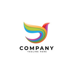 Abstract colorful bird wing logo, multicolor gradient, bird wing vector icon