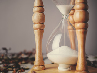Vintage hourglass, sandglass or egg timer as time passing and dried flower with copy space. Business deadline, urgency, pressure and time out concept.