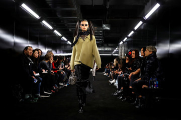 """A model presents a creation during the """"Alexander Wang Collection 2"""" presentation in Brooklyn, New York City, U.S."""