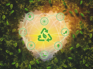 Leaf with heart icon in the heart, concept of energy saving technology.