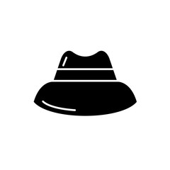 Men's hat black icon, concept vector sign on isolated background. Men's hat illustration, symbol