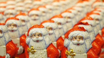 A large number of Christmas Santa Claus.