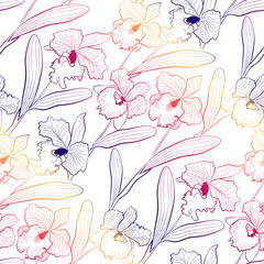 Seamless orchid flowers cattleya sketched pattern white