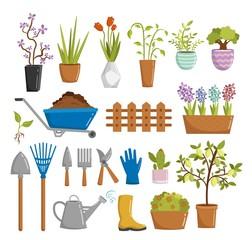 Big set of farm gardening tools cartoon elements vector illustration
