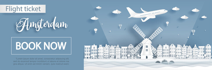 Fototapete - Flight and ticket advertising template with travel to Amsterdam, Holland concept and famous landmarks in paper cut style vector illustration