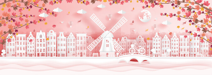 Fototapete - Autumn in Amsterdam, The Netherlands with falling maple leaves in paper cut style vector illustration