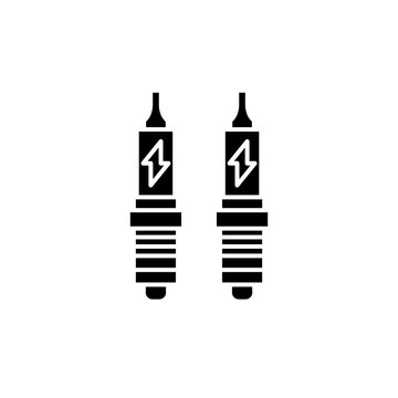 Spark plug black icon, concept vector sign on isolated background. Spark plug illustration, symbol