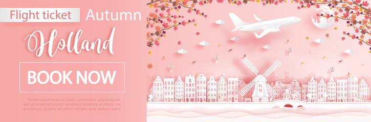 Fototapete - Flight and ticket advertising template with travel to Amsterdam, Holland in autumn season with falling maple leaves and famous landmarks in paper cut style vector illustration