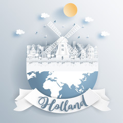 Fototapete - Dutch windmill of Holland with famous landmarks on earth in paper cut style vector illustration.