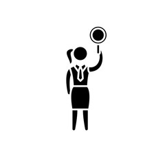 Women's issue black icon, concept vector sign on isolated background. Women's issue illustration, symbol