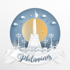 Fototapete - World famous landmark of Philippines with white frame and label. Travel postcard and poster, brochure, advertising Vector illustration.