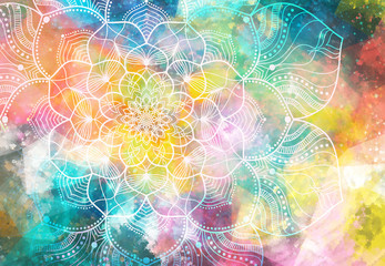 Abstract ancient geometric with star field and colorful galaxy background, watercolor digital art...