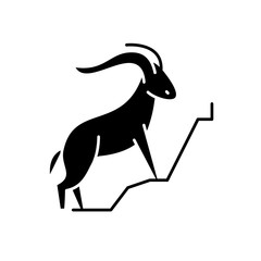 Mountain goat black icon, concept vector sign on isolated background. Mountain goat illustration, symbol